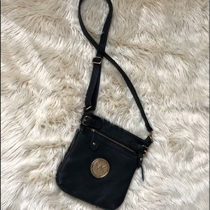 Michael Kors black leather crossbody purse